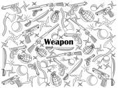Weapon design colorless set vector illustration Coloring book Black and white line art