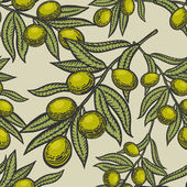 Olive branch engraving style seamless pattern vector illustration Scratch board style imitation