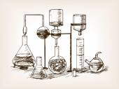 Chemical Laboratory still life sketch style vector illustration Old hand drawn engraving imitation