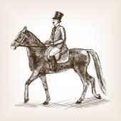 Vintage gentleman ride horse sketch style vector illustration Old engraving imitation