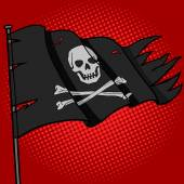 Pirate flag pop art style vector illustration Comic book style imitation