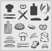 Pekárna ikony. Vektorové ilustrace