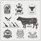 American cuts of beef Vector set of beef logos labels knives and design elements