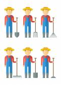 Set of farmers with equipment