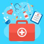 Emergency suitcase Medicine healthcare services concept Medical infographics elements Objects isolated on white background Flat cartoon vector illustration