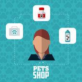 Pet shop a žena design, vektorové ilustrace