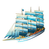 Sailing ship vector illustration on a white background