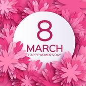 Abstract  Pink Floral Greeting card - International Happy Womens Day.Happy Mothers day. 8 March holiday background with paper cut Frame Flowers