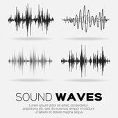 Vector music sound waves set Audio sound equalizer technology pulse musical Vector illustration