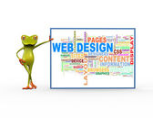 3D žába s web design wordcloud