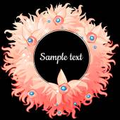 Round frame with pink feathers with text