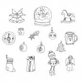WinterNew year Christmas outline icons setMany different decorative elements for winter holidays for design Trendy flat styleDoodle sketch in  style of  childs hand drawing