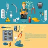 Profesionální elektrické elektrické muž v žluté pevné bannery