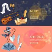 Theater-flach-Banner-set mit Schauspieler Leistung musikalische Oper