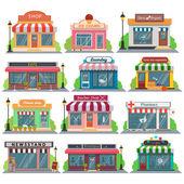 Sada vektorové plochý design restaurací a obchodů, prodejen fasáda ikony. Zahrnuje obchod, noviny, coffee shop, zmrzlina shop, květinářství, zeleniny, ovocných obchod, Prádelna, kadeřnictví, opravna, lékárna, boutique, toy store