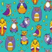 Seamless pattern with owls moon and stars