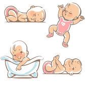 Roztomilá miminka v růžových šatech