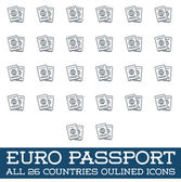 Set of All Citizenship Travel Passport of Europe Euro in Vector