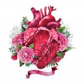 Akvarel srdce s květinovým vzorem