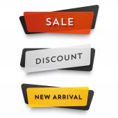 Ecommerce vector banners set Nice colorful plastic cards in material design style Transparent black white red and yellow paper
