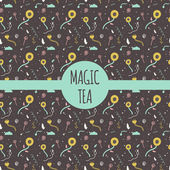 Vector pattern collection for tea package - whiteblack and green teaDesign element in trendy simple style Magic tea package