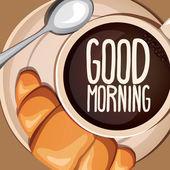 Cartoon coffee With croissants Vector illustration