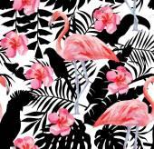 Tropical bird vector pattern