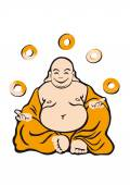 Jolly fat man Buddha is a holy man Seated figure in orange robes Happy expression He likes donuts? And what donut nirvana? Cartoon character Buddha White background with Buddha Funny illustration