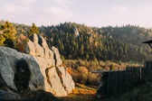 Amazing landscape with rocks and old wooden palisade in forest at sunset