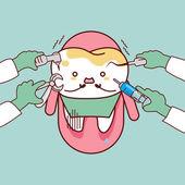 Dentální nástroje s shnilý zub