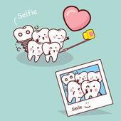 Happy cartoon tooth take selfie