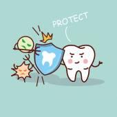 Zdravotní kreslený zub s štít