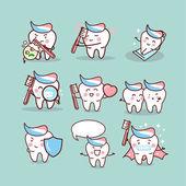 Roztomilý kreslený zubní kartáček koncept