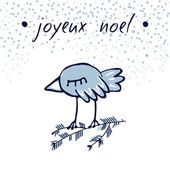 Hand Sketched Christmas Greeting Card With Cute Sleepy Bird Joyeux Noel Winter Vector Illustration