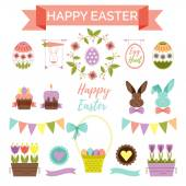 Easter scrapbook set - labels, icons and other decorative elements.