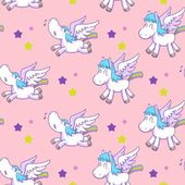 Mystical cute pegasus vector pattern cartoon