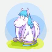 Mystical cute pegasus vector cartoon