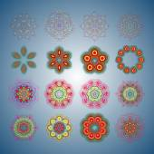 Round pattern A pattern from color spirals for your designs Spirals and pattern elements of red blue and green color Vector pattern Set of 16 circular patterns