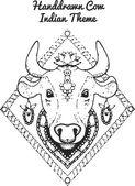 Ručně tažené ilustrace indické krávy