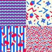 Collection of 4 American patriotic patterns in red blue and white 80's styled Including triangles leopard prints and independence picnic themed ones with muffins ice cream cones cherries and pinwheels