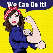 We Can Do It Iconic woman's fist symbol of female power and industry cartoon woman with can do attitude