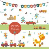 Set of toys There are a garland with the words HAPPY BIRTHDAY Balloons car train bear giraffe and other object All are perfect for any design ideas Can be used a napkin package or press Wall