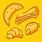 Pretty vector set of four items of bakery fast food