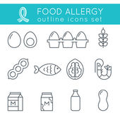 Food Allergy Triggers Flat Outline Vector Icons Set