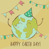 Happy Earth Day illustration Holiday concept Cute kawaii Planet in pastel colors Happy character funny and joyful celebration Vector image