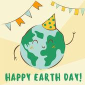 Happy Earth Day vector illustration Cute kawaii planet character