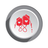 Enema tool icon. SPA weekends symbol for couples. Joke clyster sign. Round button with shadow. Vector