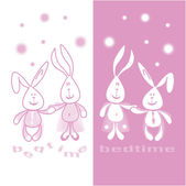 Print 2 funny hares befor bedtime vector illustrations for children