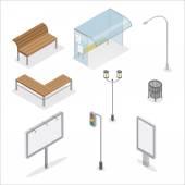 Urban Objects Traffic Light City Bench Bus Stop Street Light Advertising Billboard Trashcan City Light Isometric Object Isometric City Vector illustration