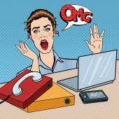 Stressed Business Woman on the Office Work Place with Phone and Laptop. Pop Art. Vector illustration